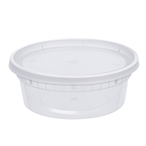 : Glotoch 24 Pack Durable Plastic Microwaveable Reusable Clear Takeout Travel Deli Food Storage Containers with Lids, Dishwasher and Freezer Safe, BPA Free (8oz)