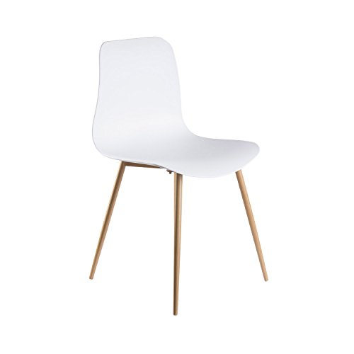 Viola Set of 4 White Dining Chairs - Mid Century Modern Style Armless Side Chairs Molded Easy Clean Plastic Shell with Wood Tone Legs by Linea di Liara LL-CH1658-WHITE by Linea di Liara (Image #2)