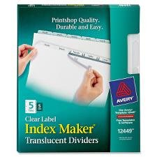 Avery Consumer Products Index Label Dividers, Plastic, 5-Tab, 3Hp Punched, Cl...