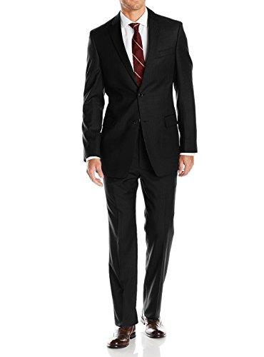 LN LUCIANO NATAZZI Mens Suits 2 Button Modern Fit Side Vent Narrow Stripe Suit (44 Regular US / 54R EU/W 38