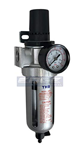 IN-LINE COMPRESSED AIR FILTER REGULATOR COMBO PIGGYBACK, 1/2' NPT PORTS, 105 CFM, POLY BOWL AND GUARD, 5 MICRON ELEMENT