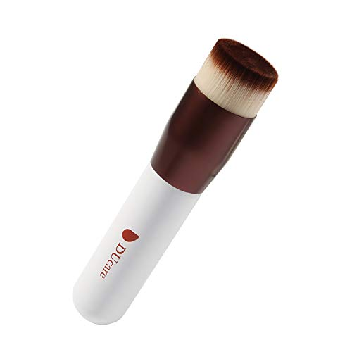 DUcare Kabuki Foundation Brush Makeup Brushes Synthetic Buffing Stippling Professional Liquid Blending Mineral Powder Makeup Tools (Rose Golden and White) (Best Type Of Brush For Liquid Foundation)