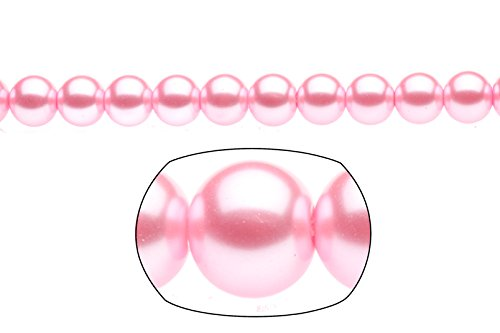 Blue Moon Glass Round Pearls (10mm pink round glass pearl (3 packs of 32inch-string))