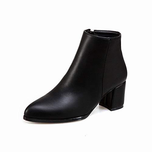 Invierno Lateral Negro Cálido Mujer Zj Botas Puntiagudas 43 cremallera Alto Retro Grueso zapatos De 36 Tacón 8xzRZ