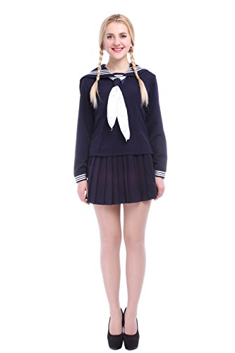 [Lemail wig Navy Sailor Suit Long Sleeve Girl Students School Uniforms GC47A-XL] (Sailor Girl Costume Pattern)