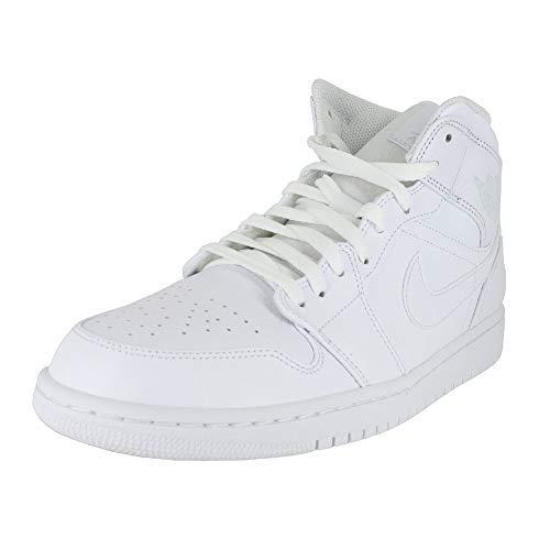 Jordan Mens AIR Jordan 1 MID White Pure Platinum White Size - Jordan White Mens Air 1