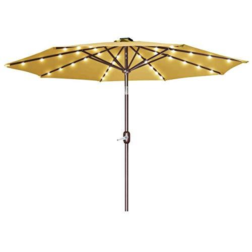 Strong Camel 9'New 40 LED Lights Patio Umbrella Garden Outdoor Sunshade Market-TAN
