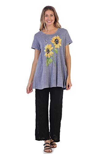 Jess & Jane Women's Sunny Garden Mineral Washed Cotton Short Sleeve Tunic Top (Large, Vintage Blue)