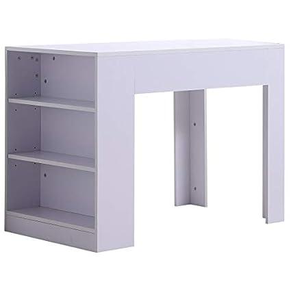Amazon Com White Computer Desk 3 Tiers Side Storage Shelves