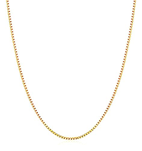 Q&S Jewels Womens Gold Necklaces 1.5mm Box Chain Necklace Stainless Steel 18K Gold Plated,Fashion Statement Jewlery,Thin Yet Durable Chain, Wear Lone or with Pendant, 16Inch