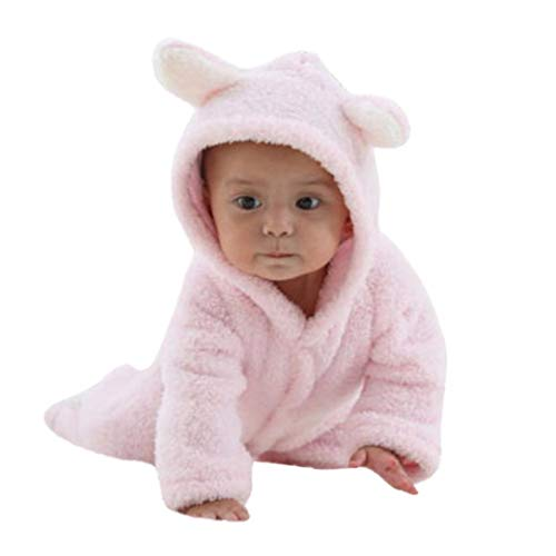 Baby Girls Boys Bear Style Jumpsuit Keep Warm Cartoon Hooded Romper Cosplay (0-3 Months, Pink)