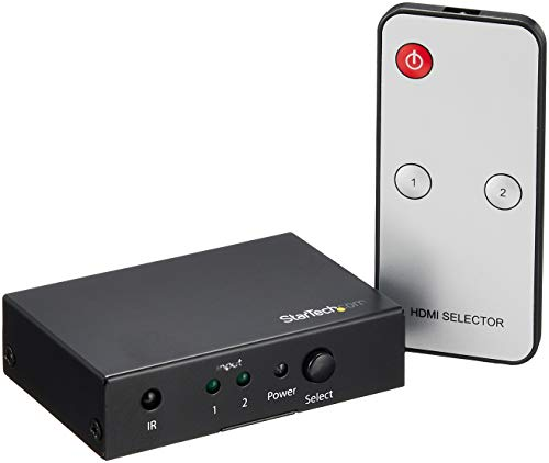 StarTech.com (VS221HD20) 2 Port HDMI Switch - 4K 60Hz - Supports HDCP - IR - HDMI Selector - HDMI Multiport Video Switcher - HDMI Switcher