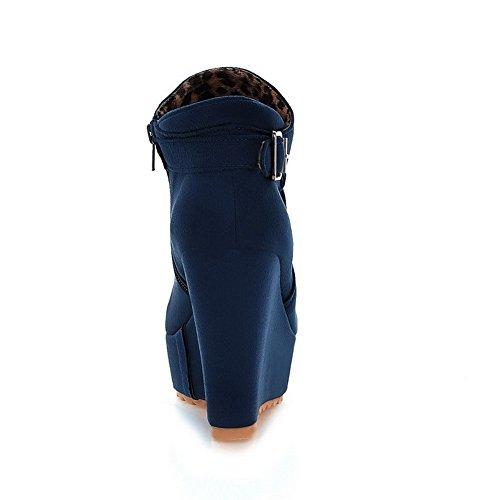 Alto VogueZone009 Tacón Sólido Redonda Tobillo Cremallera Azul Puntera Mujeres Botas wn4qnH6Ua