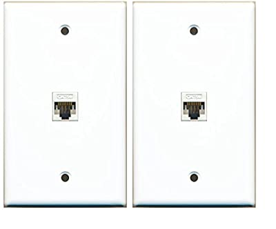 (2 Pack) RiteAV 1 Port Cat5e Rj45 Ethernet Wall Plate