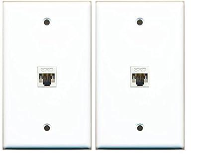(2 Pack) RiteAV 1 Port Cat5e Rj45 Ethernet Wall Plate