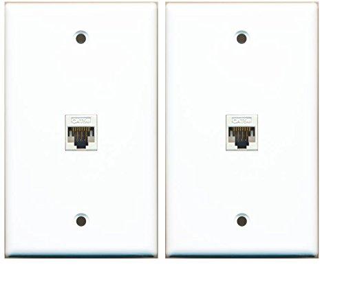 RiteAV (2 Pack) 1 Port Cat5e Rj45 Ethernet Wall Plate White Lot