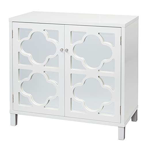 "The Mezzanine Shoppe  Modern 2 Door Broadway Mirrored Storage Cabinet, 35.5"", White"