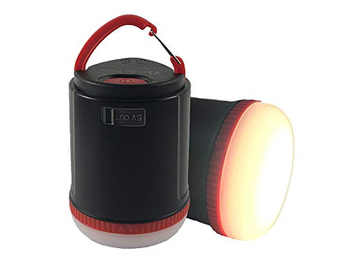 Power Bank Camping Lantern, DUALPOW Portable Ultra Bright Led Tent Lamp with 12,000mAh Power Bank, Waterproof IP65, Outdoor Lights for Night Fishing, Hiking, Backpacking and Camping (Black&Red)