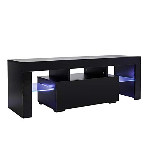 TV Stand with LED Light Wood Television Stand Media Storage Console Cabinet with Drawer and Shelves Entertainment Center Living Room Bedroom Furniture (Black)