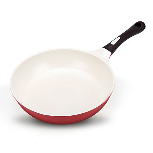 Nonstick Frying Pan Ceramic Coating, 11 inches PFOA Free, Even Heating Cookware, Detachable Silicone Handle, Dishwasher Safe, Red, Made in Korea