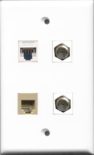- RiteAV - 2 Port Coax Cable TV- F-Type and 1 Port Phone RJ11 RJ12 Beige and 1 Port Cat5e Ethernet White Wall Plate