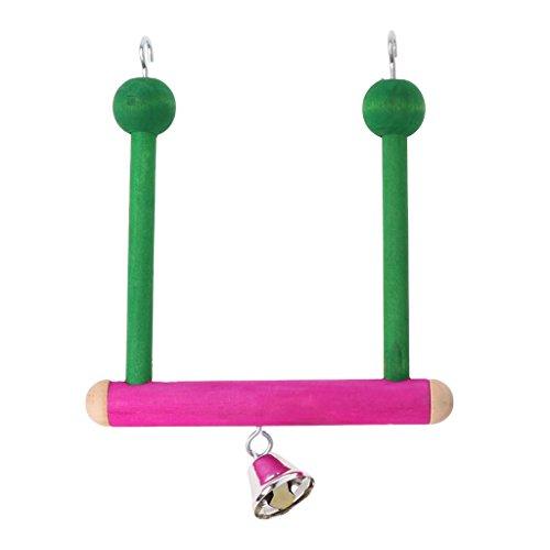 Qupida Pet Bird Parrot Swing Stand Parakeet Perch Wood Hammock Hanging Toys (S) -