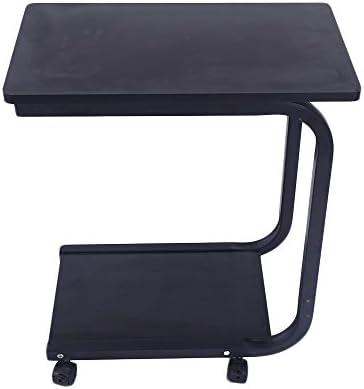 Lovinland Coffee Table Rolling Sofa Side Table 2 Tier Snack Table Bed Serving Tray Laoptop Desk for Livingroom Bedroom Black