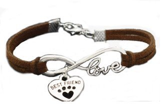 Sympathy Gift For Loss of Pet Best Friend Love Heart Bracelet with Exclusive Memorial Poem Card