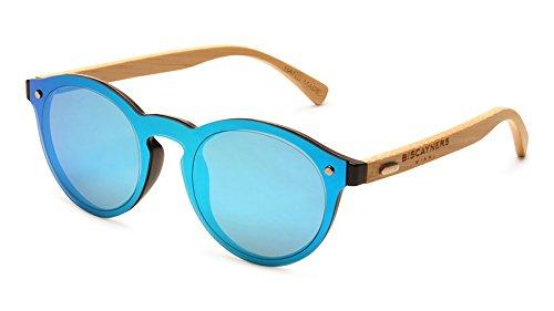 Biscayners Sunrise Unisex, Wood Sunglasses UV Protection Mirrored Aqua - Evoke Sunglasses