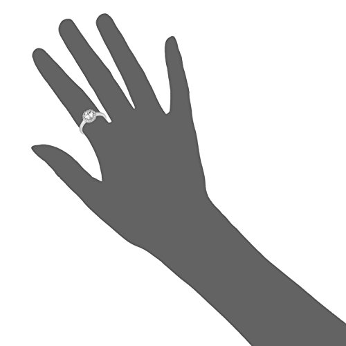 Jewelili femme  9carats (375/1000)  Or blanc|#Gold Rond   Blanc Topas Saphir FASHIONRING