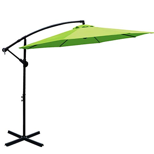 Cheap ABCCANOPY 10 FT Hanging Umbrella Cantilever Umbrella Offset Patio Umbrella Outdoor Market Umbrella Easy Open Lift 360 Degree Rotation (Lime Green)