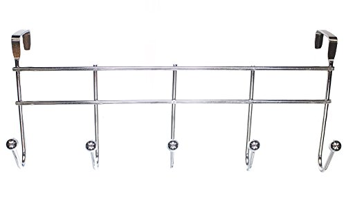 Sturdy Over The Door 5 Hook Hanger - Hangs Shirts, Coat Hooks, Towel Rack, Robes, Perfect Hat Rack
