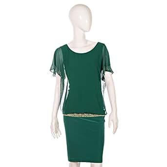 Dekelte Green Mixed Casual Dress For Women