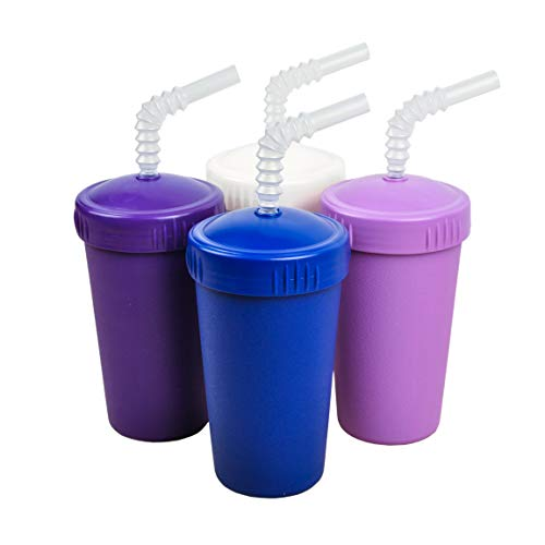 Re-Play Made in The USA 4pk Straw Cups for Baby, Toddler, and Child Feeding - Purple, White, Amethyst, Navy (Violet+)
