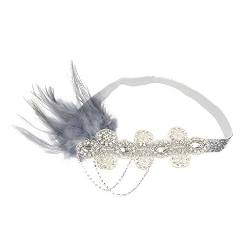 1920s Crystal Feather Flapper Headband Great Gatsby Headdress Vintage Party (Color - Gray)