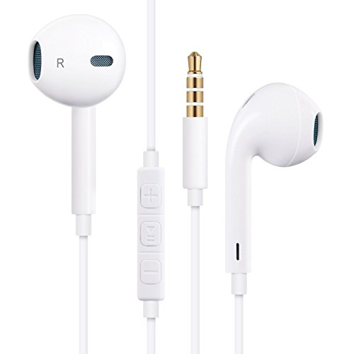 FEIFAN Premium Earbuds/Headphones/Earphones with Stereo Microphone&Remote Control for Apple iPhone 6S/6/6S Plus/6 Plus,iPhone 7/7 Plus,iPhone SE/5S/5C/5, iPad /iPod Nano 7/iPod Touch (White)