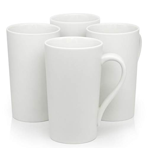 16 OZ Ceramic Coffee Mugs, Smilatte M006 Blank Large Tall Porcelain Cup with Hanlde for Tea Latte Cappuccino, Set of 4, White