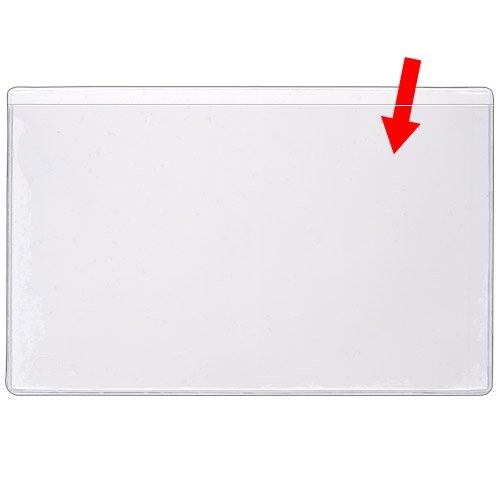 StoreSMART - 3'' x 5 1/4'' - Non-Adhesive Plastic Vinyl Pocket - Index Card Sized - Open Long Side - 100 Pack - PE106L-C-100