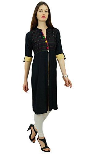 Pom Ryan Ethnique Kurta Tunic Pom Designer Indienne Noir Kurti Phagun Y6nWSqS