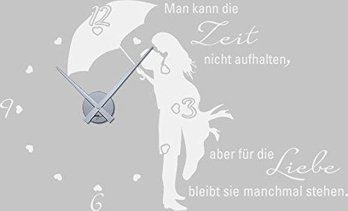 GRAZDesign 800369_SI_010 Wandtattoo Uhr mit Uhrwerk Wanduhr für Schlafzimmer Spruch Man kann die Zeit (94x57cm    010 Weiss    Uhrwerk Silber)