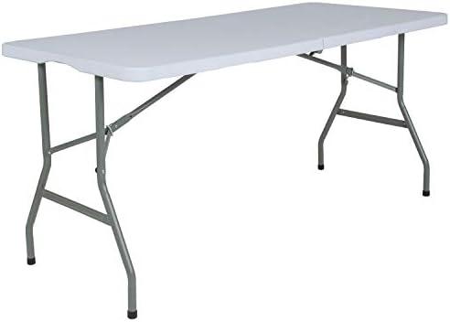 Flash Furniture 4.97-Foot Bi-Fold Granite White Plastic Folding Table