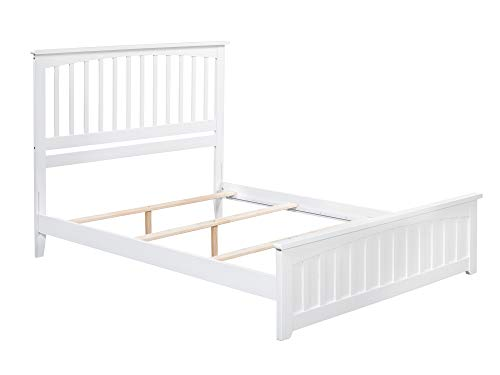 Atlantic Furniture AR8746032 Mission Traditional Bed with Matching Foot Board, Queen, White