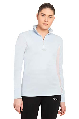 TuffRider Women's Ventilated Technical Long Sleeve Sport Shirt with Mesh, Glacier Blue, X-Large