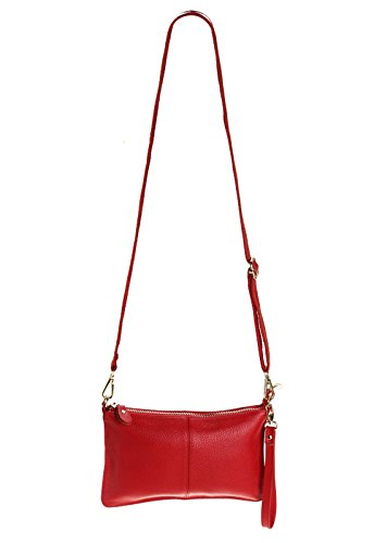 Clutch Shoulder Handbag Small SEALINF Women's Purse Bag red Leather Cowhide wxfqqtIZvO