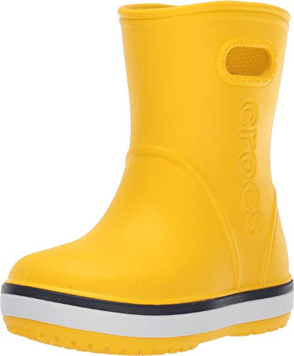 yellow and navy rain boots - 2