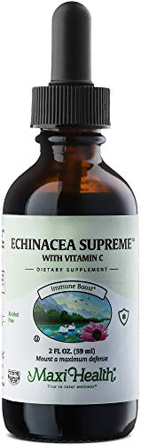 Maxi Health Organic Echinacea Supreme with Vitamin C - Immune Booster - 2 Ounce Bottle - Kosher
