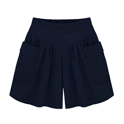 CofeeMO Women's Summer Comfortable Culottes Elastic Waist Shorts, Wide Leg Pocket Casual Short Pants(L,Navy)