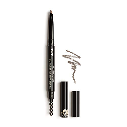 Mirenesse Secret Weapon 3D Multishade Brow Express, 2-in-1 Brow Perfecting Pencil & Brush, Precision Triangular Tip with Transfer Proof Soft Crayon, Vegan & Toxin Free, Universal 0.01oz