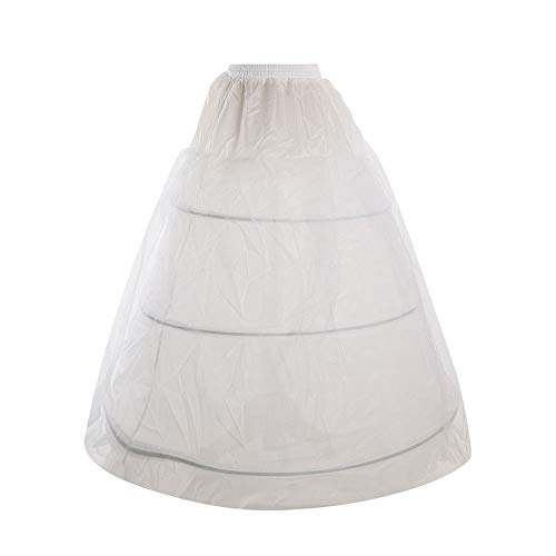 Febou Petticoat 3 Hoops White Bridal Petticoat with Tulle Netting Women Crinoline Underskirt Half Slips for Wedding Ball Gown Dress (3 Hoop)
