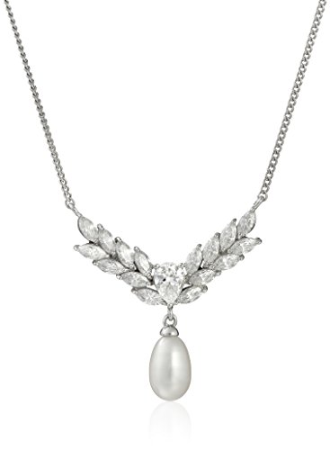 Platinum Plated Sterling Silver Cubic Zirconia Freshwater Cultured Marquise Pearl Necklace